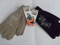 Женские перчатки ангора Сенсор КОРОНА со стразами 7325 длина 23 см