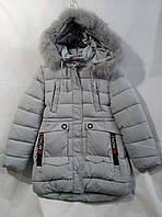 Куртка зимняя подростковая удлиненная с мехом для девочки 10-14лет,светло серого цвета