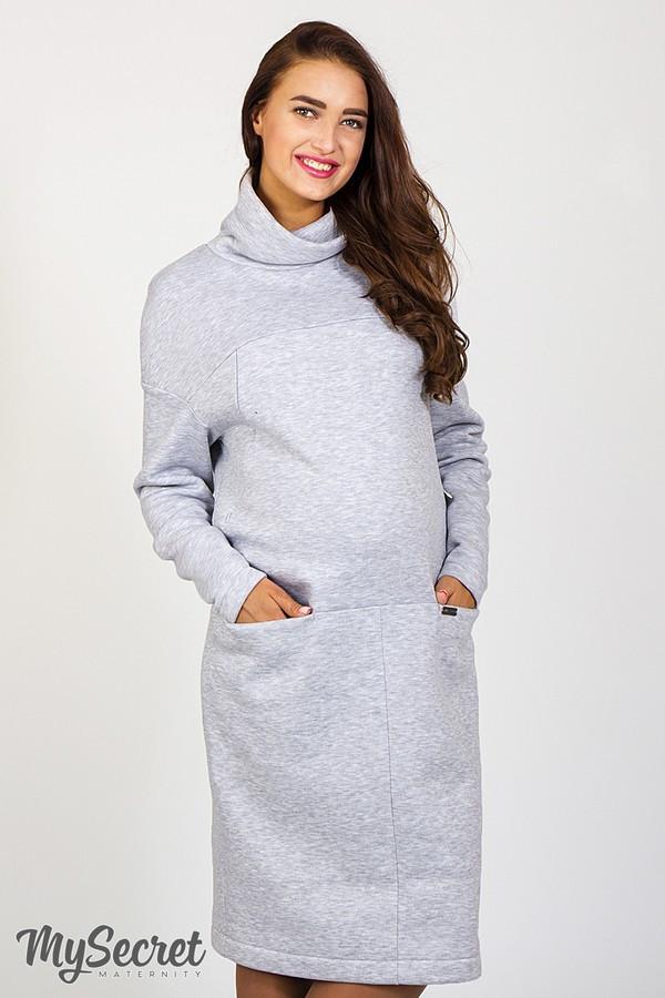 Очень теплое платье для беременных и кормящих SOLLY, из теплого трикотажа  трехнитка с начесом, 2aa8006c02f