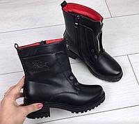 Ботинки женские Эко Кожа Демисезон Красные внутри