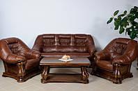 Новый Кожаный диван и кресла Maestro 3+1+1, Шкіряний диван та два крісла