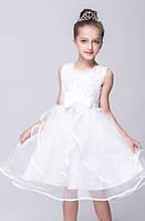 Бальное платье для девочки белое с объемной фатиновой юбкой