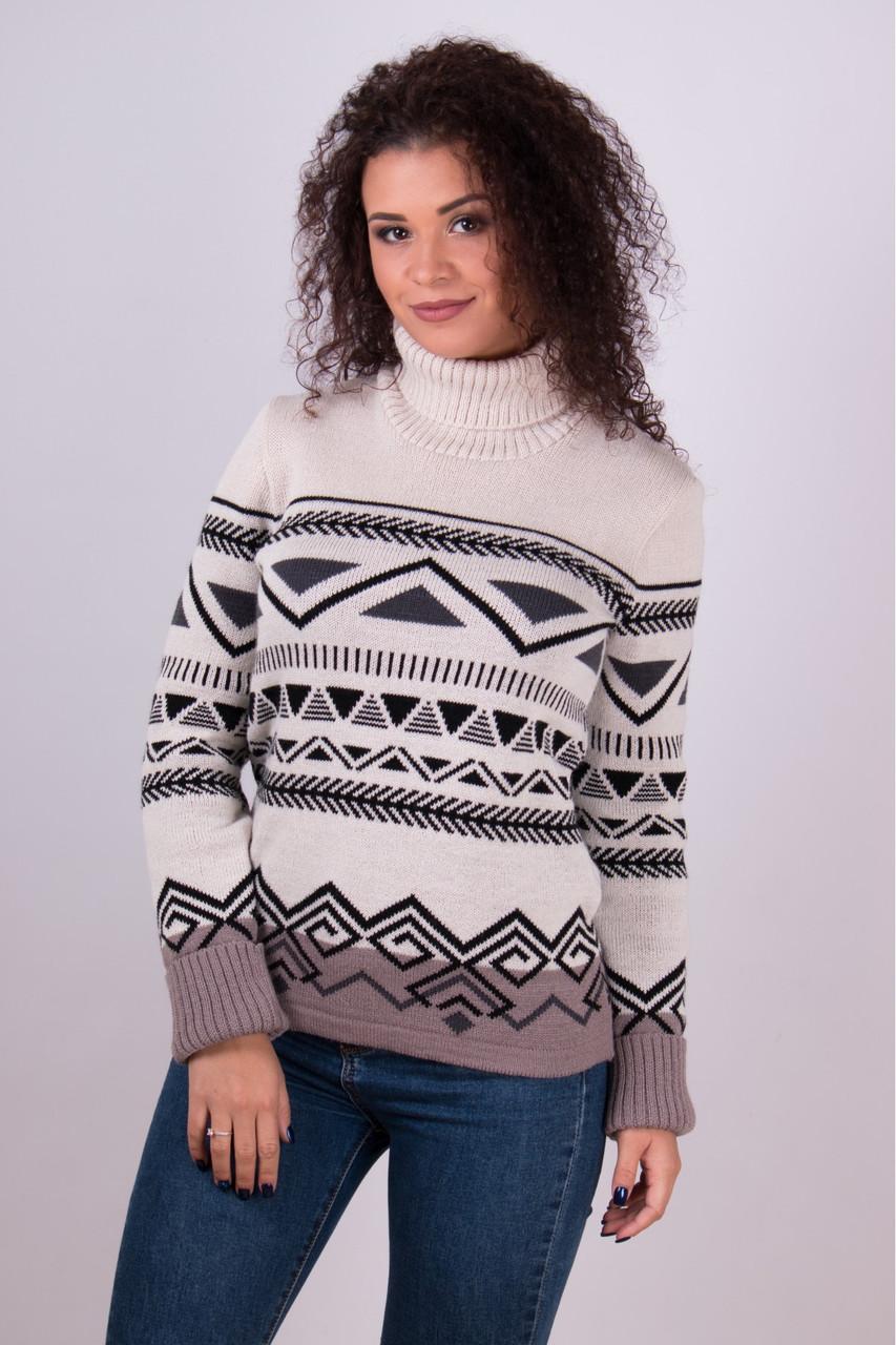 Теплый вязаный свитер с изящным абстрактным рисунком.Разные цвета