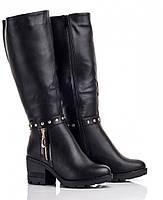 Модные высокие женские черные сапожки (р36-41)