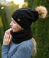 Комплект шапка с бубоном на флисе и хомут