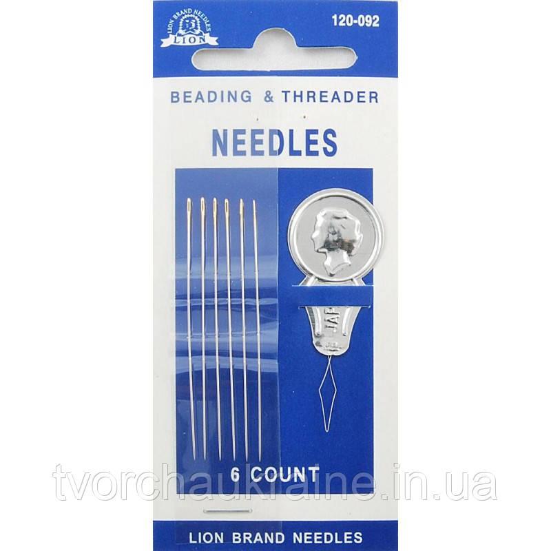 Набор игл для бисера (beading) Lion (Япония) 120-092, 6 игл