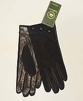 Кожано-замшевые женские перчатки на шерсти