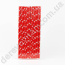 Набор бумажных трубочек, красные в звездах, 25 шт.