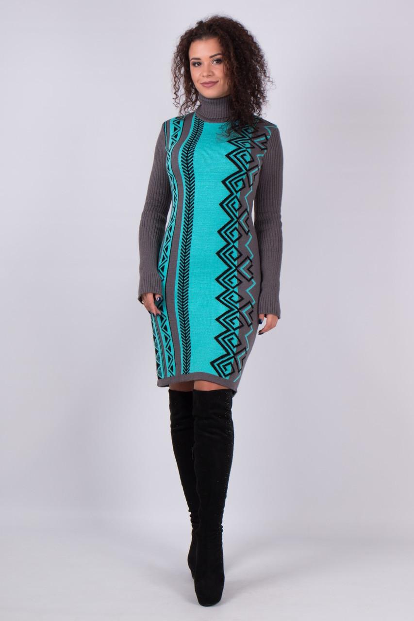 b9311efab1a24ed Молодёжное вязаное платье с изящным геометрическим орнаментом 44-52 ...