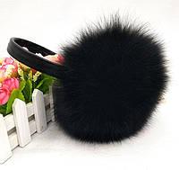 Наушники из натурального меха кролика черные