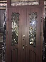 Дверь двупольная для улицы со стеклопакетом и ковкой