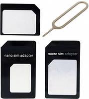 Набор адаптеров Sim карт (Nano Sim, Micro Sim) + скрепка для Iphone