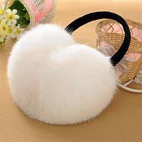 Наушники из натурального меха кролика белые
