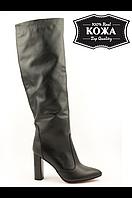 Классические кожаные сапоги на каблуке