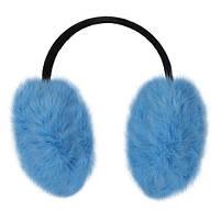 Наушники из натурального меха кролика голубые