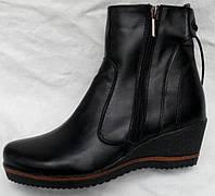 Ботинки удобные зимние на танкетке, кожаные ботинки зимние от производителя модель НБ6