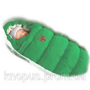 """Зимний пуховый конверт-трансформер с меховой подкладкой """"Inflated """" зеленый, Ontario Baby"""