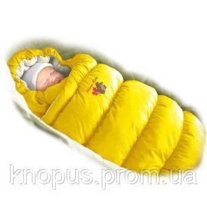 """Зимний пуховый конверт-трансформер с меховой подкладкой """"Inflated """" желтый, Ontario Baby"""