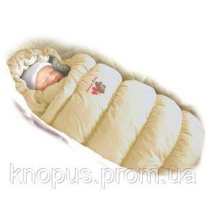 """Зимний пуховый конверт-трансформер с меховой подкладкой """"Inflated """"  LUX бежевый, Ontario Baby"""