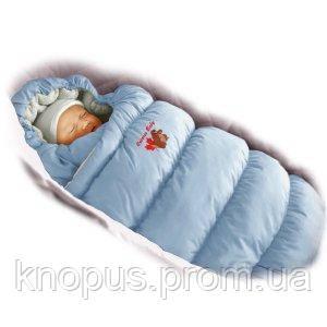 """Зимний пуховый конверт-трансформер с меховой подкладкой """"Inflated """" нежно-голубой, Ontario Baby"""
