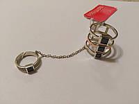 Кольцо серебряное с золотом, цепочкой и черными камнями Сонет