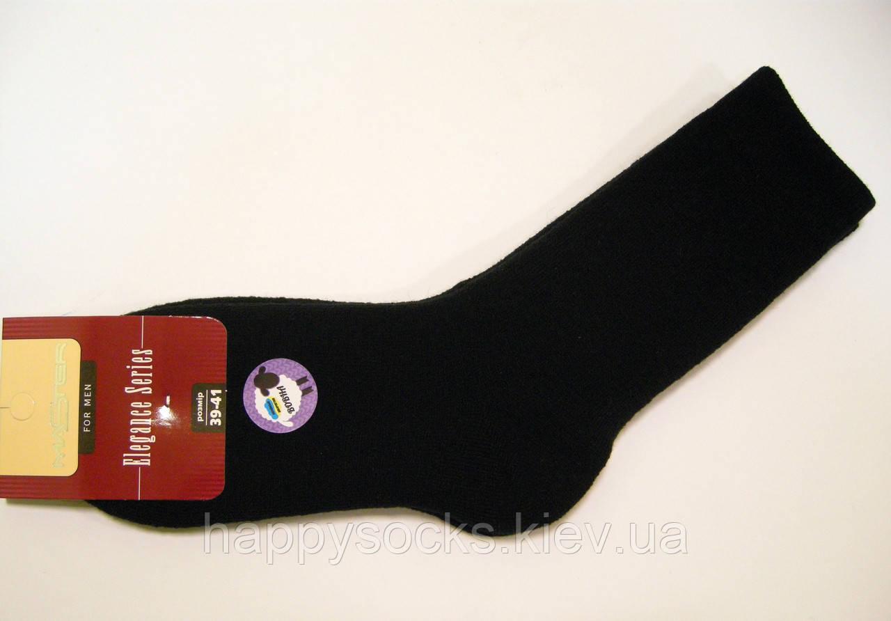 Полушерстяные мужские носки махровые черного цвета