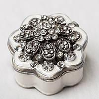 """Шкатулочка """"Алмазный цветок"""" (6*5 см) металл, камушки"""