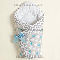 """Зимний конверт ― одеяло для новорожденного  """"Сердечки"""" голубой"""