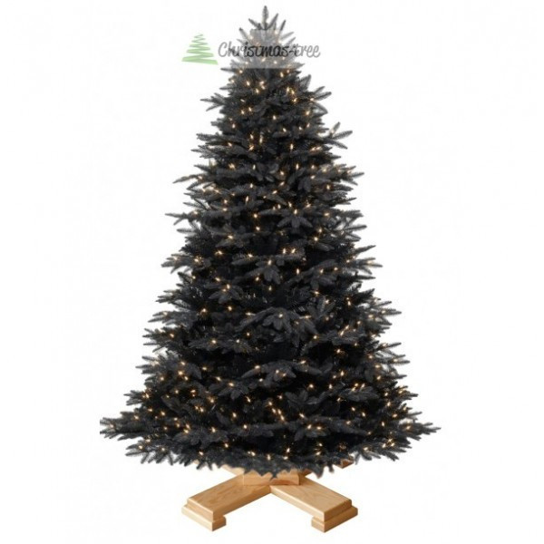 """Ялинка """"Чорна"""" на дерев'яній підставці + гірлянда у подарунок"""