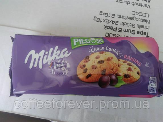 Печенье Milka Pieguski Choco Cookies Raisins (c кусочками шоколада и изюмом), 135 гр, фото 2