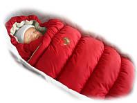 Зимний пуховый конверт-трансформер с меховой подкладкой Inflated красный, Ontario Baby