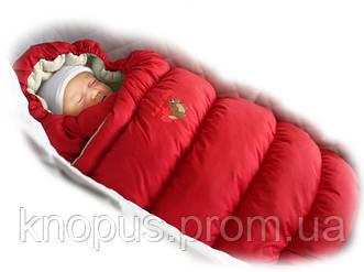 """Зимний пуховый конверт-трансформер с меховой подкладкой """"Inflated """" красный, Ontario Baby"""