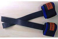 Лямки штангиста кожаные с неопреновым фиксатором