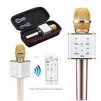 Беспроводной Bluetooth микрофон для караоке Q7 Золото с чехлом