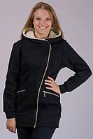 Черная куртка утепленная женская удлиненная весна осень трикотажная на молнии с капюшоном Украина