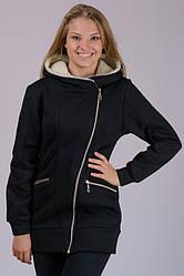 Чорна куртка утеплена жіноча подовжена весна осінь трикотажний на блискавці з капюшоном Україна