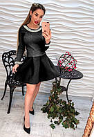 Вязаное платье с пышной юбкой 7082 42-48р черный