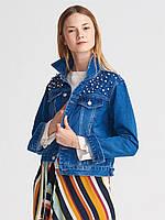 Куртка джинсовая украшенная жемчугом