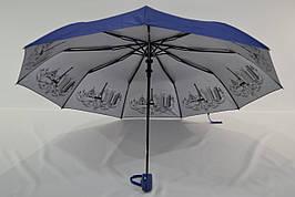 """Женский однотонный зонт полуавтомат с узором изнутри от фирмы """"Flagman"""""""