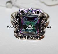 Серебряное кольцо квадратное Златоцвета, фото 1