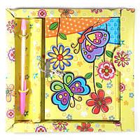 Блокнот с замком для девочек желтый (2 ключа, ручка)(19х18х1,5 см)