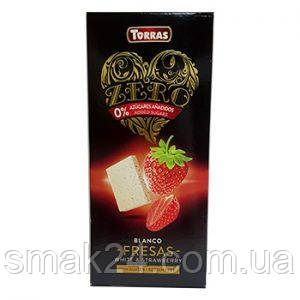 Белый шоколад без сахара Torras ZERO BLANC MADUIXES White Chocolate with strawberries с клубникой 125 г