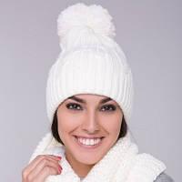 Двойная женская шапка белая с бубоном