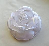 """Брошь из ткани ручной работы """"Роза белая"""""""
