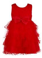 Бальное платье для девочки ярко-красное с пышной юбкой