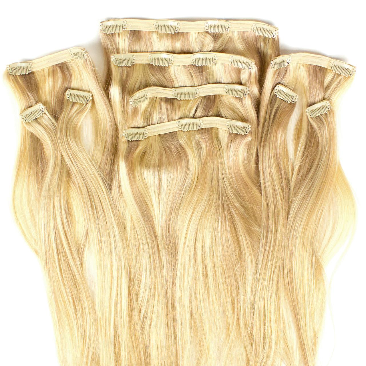 Набор натуральных волос на клипсах 50 см 150 грамм Beauties Factory оттенок 18-613 Мелирование Блонд