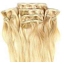 Набор натуральных волос на клипсах 50 см 150 грамм Beauties Factory оттенок 18-613 Мелирование Блонд, фото 1