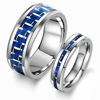 """Парные кольца """"Хранители силы"""" из карбида вольфрама, цвет синий"""