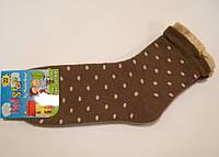 Детские носки в горошек махровые коричневого цвета