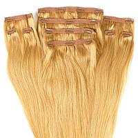 Набор натуральных волос на клипсах 50 см 150 грамм Beauties Factory оттенок 19 Бежевый Блонд